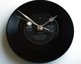"CHER ""I Found Someone"" or choose your song... Vinyl Record CLOCK 7"" single Retro recycled cool Rock anniversary gift"