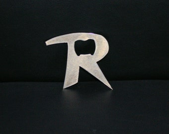 Letter R Bottle Opener, metal opener, unique gift