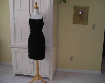 70's sexy fringe black  cocktail dress with fringe, sequins, and iridescent beads, wiggle dress