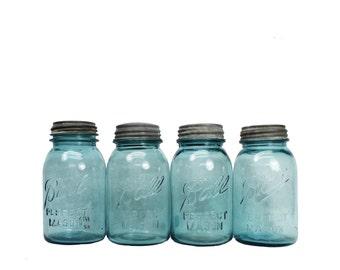 Vintage Ball Jar -- Rustic Canning Jar with Zinc Lid