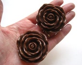 2 Large Rose Bead, 45mm Chocolate Brown Large Rose Beads, Focal Bead, Flower Beads, Chunky Beads, Necklace Focal Beads, Acrylic Beads