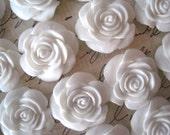 Resin Cabochon Flower / White Rose Cabochons / 22mm 10 pcs