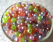 Mixed Lot Faceted Beads, 8mm Translucent Beads, 50 pcs, AB, Bubblegum Bead, Gumball Beads, Acrylic, Bracelet Beads, Spacer Beads