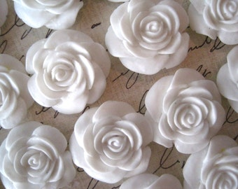 Resin Cabochon Flower / White Rose Cabochons / 22mm 10 pcs