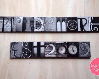 Letter Photo Sign 6-18 letters, Letter Photo Sign, Alphabet Photo Sign, Photo Art Sign, Last Name Sign, Wedding Gift, Custom Home Decor