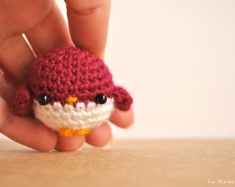 Bird crochet doll, amigurumi wine-red bird, kawaii charm, stocking stuffer, bird keychain, cute keyring, home decor animal