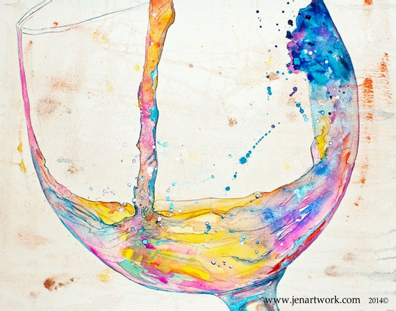 "Wine Canvas Art by Jen Callahan 22"" x 32"" ready to hang gallery sides"