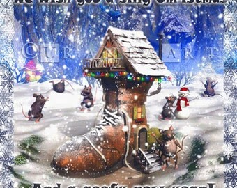 Digital Christmas card - shoehouse and goofy mice winter wonderland scene, funny christmas card, INSTANT DOWNLOAD