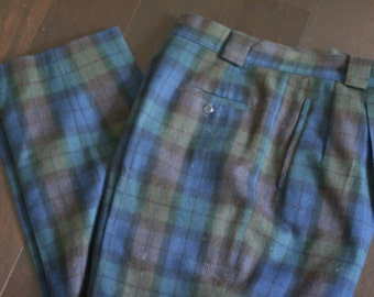 vintage women's wool plaid pants size 12 collectable gold by georgio sari angelo