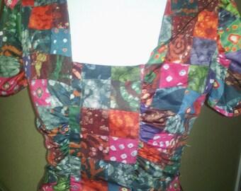 Retro patchwork shirt 1970's Mod shirt, bright hippie print, a very sexy cute handmade small blouse