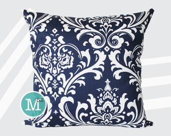 Navy Blue Damask Pillow Cover - 20 x 20 and More Sizes - Zipper Closure