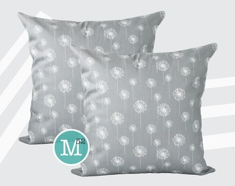 Grey Dandelion Pillow Covers Shams - 18 x 18, 20 x 20 and More Sizes - Zipper Closure- dc1820
