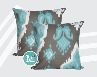Spirit Brown Ikat  Pillow Covers Shams - 18 x 18, 20 x 20 and More Sizes - Zipper Closure- dc1820