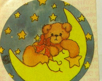 Teddy Bear on moon sticker by Lucy Rigg, vintage 1984