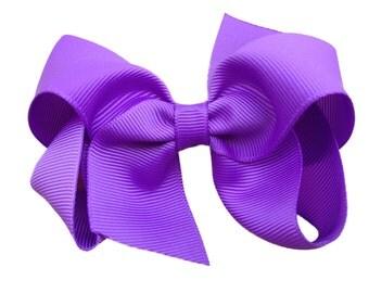4 inch lilac hair bow - purple bow, lavender bow