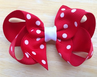 You pick color 3 inch polka dot boutique bow - polka dot bow, red polka dot bow