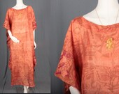 Handmade Caftan from Vintage Saree Sari Silk Blend Orange Rust Maxi Hippie Boho Size L large