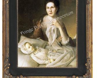 Woman with Post Mortem Child Art Print 8 x 10 - Horror - Dark Art - Goth - Memento Mori