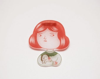 Girl Brooch - Shrink Plastic Brooch