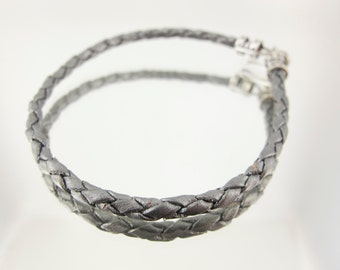 Bolo Braided Leather Bracelet Silver #647