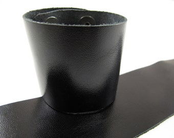 "Metallic Black Leather Cuff Bracelet 2"" Wide, #50-85231011"