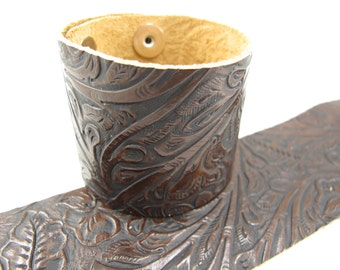 "Tooled Brown Black Leather Cuff Bracelet 2"" Wide, #57-85241615"