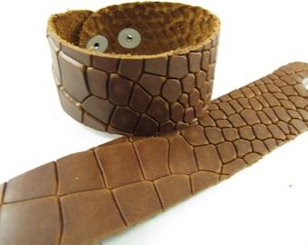 "Cognac Dragon Leather Cuff Bracelet  1-5/8"" Wide #-"