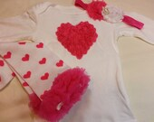 VALENTINES DAY SPECIAL Price, Valentines Outfit, Hot Pink Heart Outfit, Leg Warmers, and Matching Rose Heart Headband, Sizes 0 to 24 month