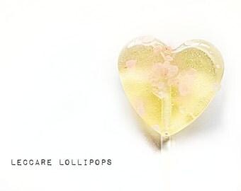 6 Hard Candy Lollipops // Salted Caramel // Himalayan Pink Rock Salt // Heart Lollipops // Gold and Pink // Spring Wedding // Summer Wedding