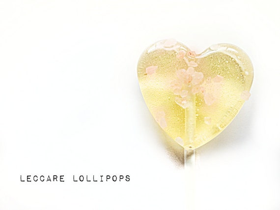 6 Hard Candy Lollipops // Salted Caramel // Himalayan Pink Rock Salt // Made to Order // Heart Lollipops // Gold and Pink