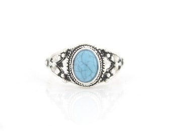Lovely Vintage Feel Retro Silver-tone Blue Stone RING,Size selectable