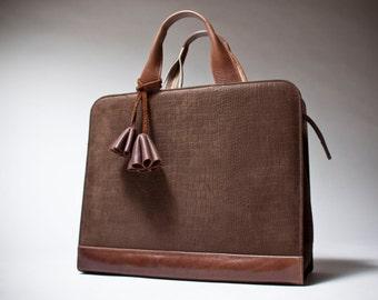 Leather bags brau Carrée