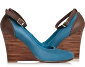 Sale. Sz 6.5. FELICITY. Leather wedges / wedge heels / ankle strap pumps / pointy shoes / high heel shoes / leather pumps / sale / clearence