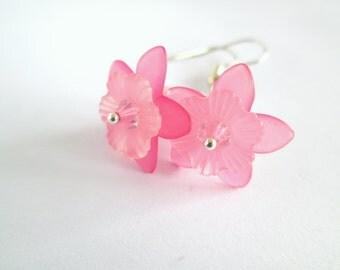 SALE - Pink Pearl Earrings, Pink Earrings, Flower Earrings, Flower Jewelry, Flower Girl Gift, Pearl Drop Earrings, Pearl Earrings