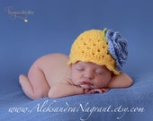BABY HAT With Flower - newborn - baby - acrylic - photo prop - Made To Order