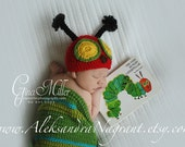 CATERPILLAR BABY COSTUME -  hat and cocoon - wool or acrylic - photo prop - Made To Order