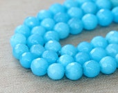 Faceted Jade Beads, Light Blue, 6mm Round - 15 Inch Strand - eJFR-B29-6