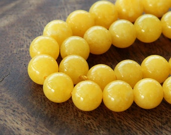 Mountain Jade Beads, Yellow, 8mm Round - 15 Inch Strand - eMJR-Y07-8