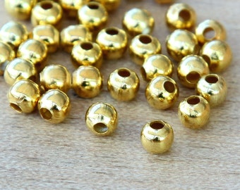 Spacer Beads, Gold Tone, 4mm Smooth Round - 100 pcs - eSR01G-4