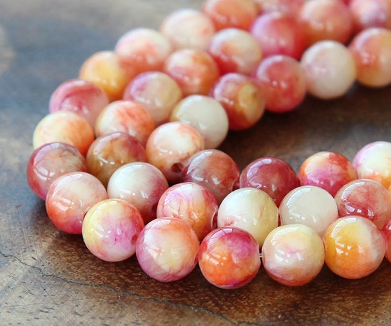 Mountain Jade Beads, Red and Yellow Mix, 8mm Round - 15 Inch Strand - eMCJ-504-8