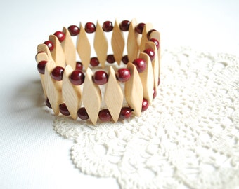 birch cherry  wood bracelet, eco friendly, country style, nature, wedding, women accessories, jewelry, big size, mothers day, valentines day