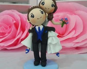 Groom carry his bride on back wedding cake topper clay doll, wedding clay couple in blue theme, engagement clay miniature, clay figurine
