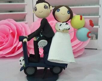 Vespa wedding groom in kilt wedding cake topper clay doll,clay couple in navy blue wedding theme ILoveyou balloons clay miniature, keepsake