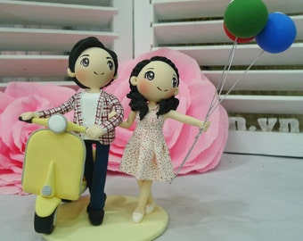 Vespa wedding cake topper clay doll, Yellow wedding theme clay miniature with balloon clay figurine, bridal shower present, anniversary gift