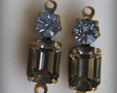 Black Diamond Sapphire Multi Stone 18MM Brass Swarovski Crystal Rectangle 2R Connector