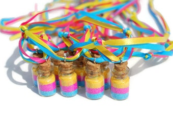 Fairy Party Favor Necklaces Rainbow, Pink, Blue, Yellow, Princess Party Favor, Fairy jars, glass vial, Pixie, Glitter, Ribbon