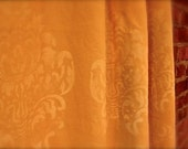 Flat/pocket top all over damask printed linen curtains