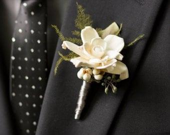 Natural Sola Gardenia Boutonniere Wedding Groom Groomsmen Tallow Berries Seeded Eucalyptus Plumosa fern Silver Satin ribbon