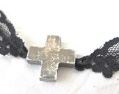 GOTH CHOKER NECKLACE, Handmade, Sweet, with Black Lace with Distressed Metal Cross, Flirty Goth, Christian Boho, Sassy Girl