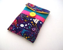 phone case, iphone sleeve in turquoise canvas and purple effervescence fabric, padded phone case in turquoise and purple graphic fabric